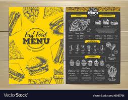 Food Menu Design Vintage Fast Food Menu Design Royalty Free Vector Image