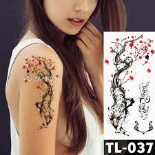 тигра Plum акварельные переводные татуировки похожая на настоящую эскиз для мужчин