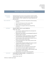 Triage Nurse Resume Sample And Job Description Online