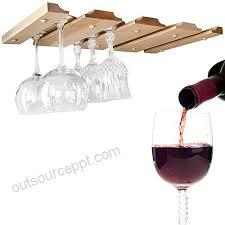 hanging wine glass rack under cabinet counter bar or shelf stemware holder unfinished wooden storage racks