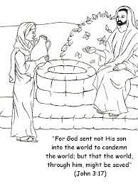 Small Picture Woman at the Well Coloring Page with Bible Verse John 317