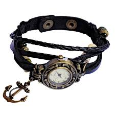 faux leather wrap wrist watch with round face black
