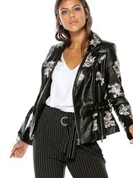 women s biker faux leather jacket with embroidered flowers