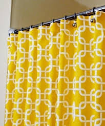 patterned yellow shower curtain