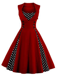Retro Dress Patterns Interesting Wine Red M Sleeveless Polka Dot Retro Corset A Line Dress Rosegal