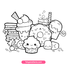 Show them the proper way how to color. Kawaii Sweets Doodle Free Coloring Page Printalbe Pdf