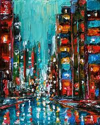 abstract cityscape city art painting rainy night new york by debra hurd