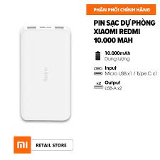 FREESHIP - HÀNG CHÍNH HÃNG] Pin sạc dự phòng Xiaomi Redmi 10.000mAh l  Input: Micro USB, Type-C / Output: USB-A x2