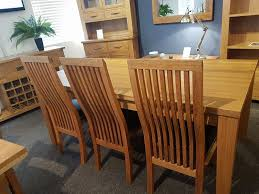 newlife ex display solid oak dining table 3 oak slatted back chairs solid oak bench