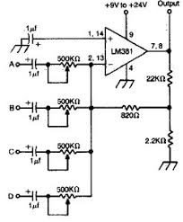 mixer circuit diagram the wiring diagram 4 channel audio mixer using lm381 electronic schematic circuit circuit diagram