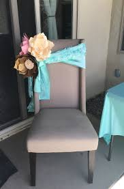Giant paper flowers baby shower chair decorations wedding chair decor