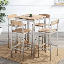 Macon 5 Piece Square Teak Outdoor Bar Table Set Whitewash Ideas