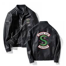 southside riverdale stand collar leather jackets serpents men riverdale streetwear leather brand south side serpents fleece leather jacket fluffy denim