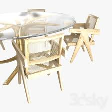 custom made office chairs. 3d Models: Table + Chair - Pierre Jeanneret Office Chairs And Custom Made  Table Domestico Chandelier G