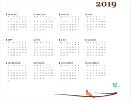 Birds On A Branch Yearly Calendar Sun Sat