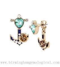 betsey johnson heart anchor rose jacket earrings black light blue navy