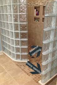 glass block shower with an entry and interior opening