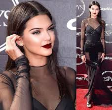 kendall jenner us so gorgeous dark red lips sleek hair and sheer black dress to for