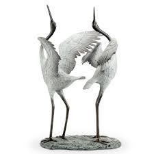 good fortune preening cranes aluminum