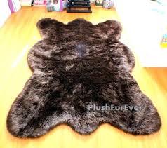 faux fur bear rug 5 x 7 big brown bear faux fur rug chocolate bearskin rug
