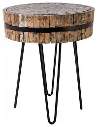 taku round wooden side table rustic side tables end tables by beliani