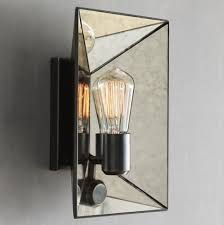 mirrored lighting. Faceted Mirror Sconce Modern Wall Sconces West Elm Pertaining To Throughout Mirrored Idea 12 Lighting