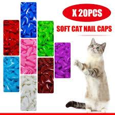 20pcs soft cat nail caps pet