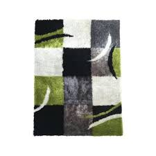 new white black checd area rug with organic elements in green