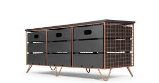 amph storage bench copper and grey  madecom