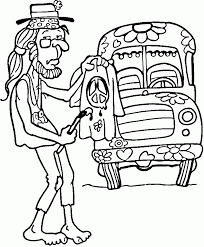 Hippie Coloring Pages Man And Van Coloringstar