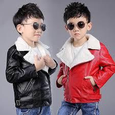 4 12y kids boys handsome pu leather jacket fleece lined biker coat outwear lapel
