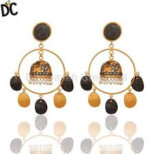 designer jewelry 18k gold plated natural pearl designer traditional indian chandelier earrings traditional brass jewelry