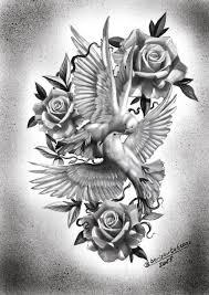 эскиз голуби с розами татуировка голуби и розы At Borisovtattoos Tat