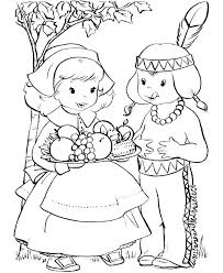 Pilgrim And Indian Coloring Page Pilgrim Coloring Pages Professional
