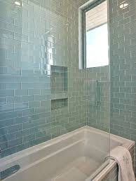 Guest bath tile idea - Gorgeous Shower Tub Combo With Walls and Bath  Surround Tiled in Blue Glass subway tile