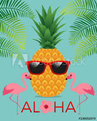 pineapple and flamingo background. aloha typography with pineapple and sunglasses on palm leaf flamingo background. summer holidays concept background