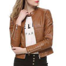 2019 2018 fashion women elegant zipper faux leather biker jacket in brown black slim las coat casual motorcycle leather coat from lin and zhang