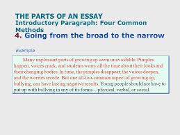 quiz on the readings what does topic mean types of  the parts of an essay 3