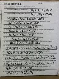 chemistry word equations worksheet answers worksheets