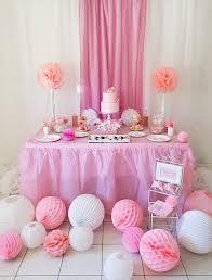 décoration baptême fille en rose et blanc