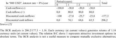 Example Of Typical Cash Flow For Bcr Analysis Download Table