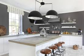 white kitchen counter. Contemporary Kitchen Giant Chandelier Above The Kitchen Counter Steals Spotlight Here  Design VSP Interiors Throughout White Kitchen Counter N
