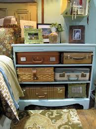 Creative Idea:Dark Old Style Suitcase Drawer Design With Vintage Decorations  Bedroom Idea With Brown
