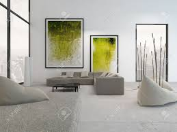 Paintings For Walls Of Living Room Modern Living Room Interior With Green Paintings On Wall Stock