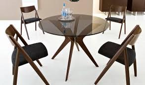 the best jensen round glass dining table angular solid wood base