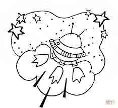 Small Picture Alien Spaceship in Outer Space coloring page Free Printable