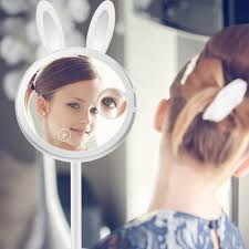 high quality led fashion lighted rabbit makeup mirror dimmer se touch beauty table l