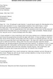 Child Care Cover Letter Sample Child Care Worker Cover Letter Sample
