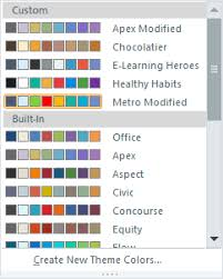 the first two apply to text and backgrounds the last six are accent colorsfor example shape fill options to see the entire color palette for any theme change color scheme theme