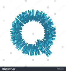 The letter Q, in the alphabet broken 3d perspective set blue color isolated  on white